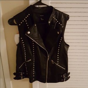 Worn once pleather studded vest
